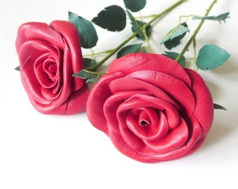 Red Rose  Single Stem Flower Leather  bouquet  Wedding 3rd Anniversary Gift Long Stem Flower Valentines Day