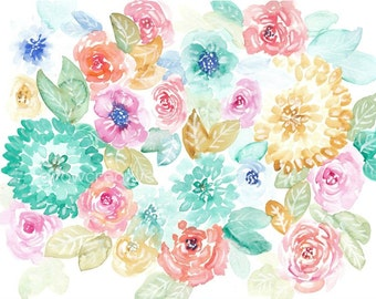 Original watercolor paintings free shipping by for Pastel teal paint