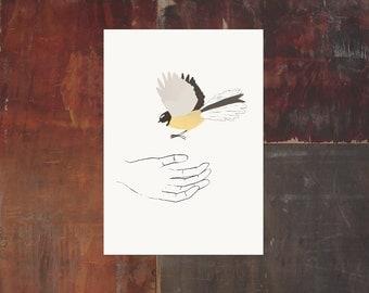 Bird In Hand Print - Fantail - New Zealand Bird