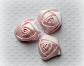 """Light Pink Rolled Roses. Light Pink Satin Flowers. 1.5""""  QTY: 7 Flowers"""