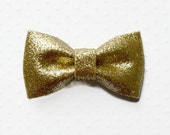 "Gold Glitter Bow. Metallic Gold Bow. 2.75"" . 1 Bow"