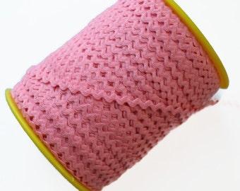 """Narrow Pink RicRac. 3/16"""" .  Pink Ric Rac Trim. Skinny Pink Ric Rac. Scalloped Pink Trim.  Pink Wavy Trim."""