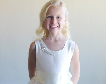 The 'Crescent' flower girl dress, first communion dress, junior bridesmaid dress, with crystal, diamante, pearl embellishmnets