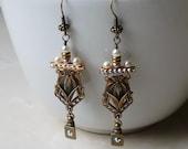 Earrings - Pearl and Crystal