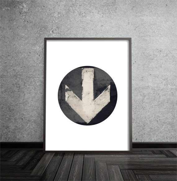 Minimalist, Arrow, Distressed, Industrial, Modern, Contemporary, Circle Print, Abstract, Art, Poster, Mid Century Modern, Geometric