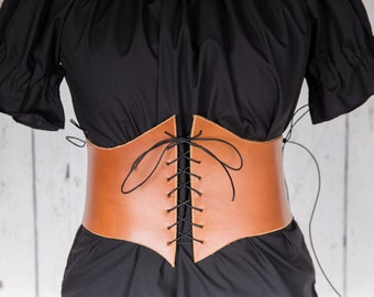 Brown leather corset belt