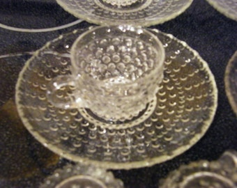 Crystal hobnail luncheon plate and cup  5 sets 4 extra cups