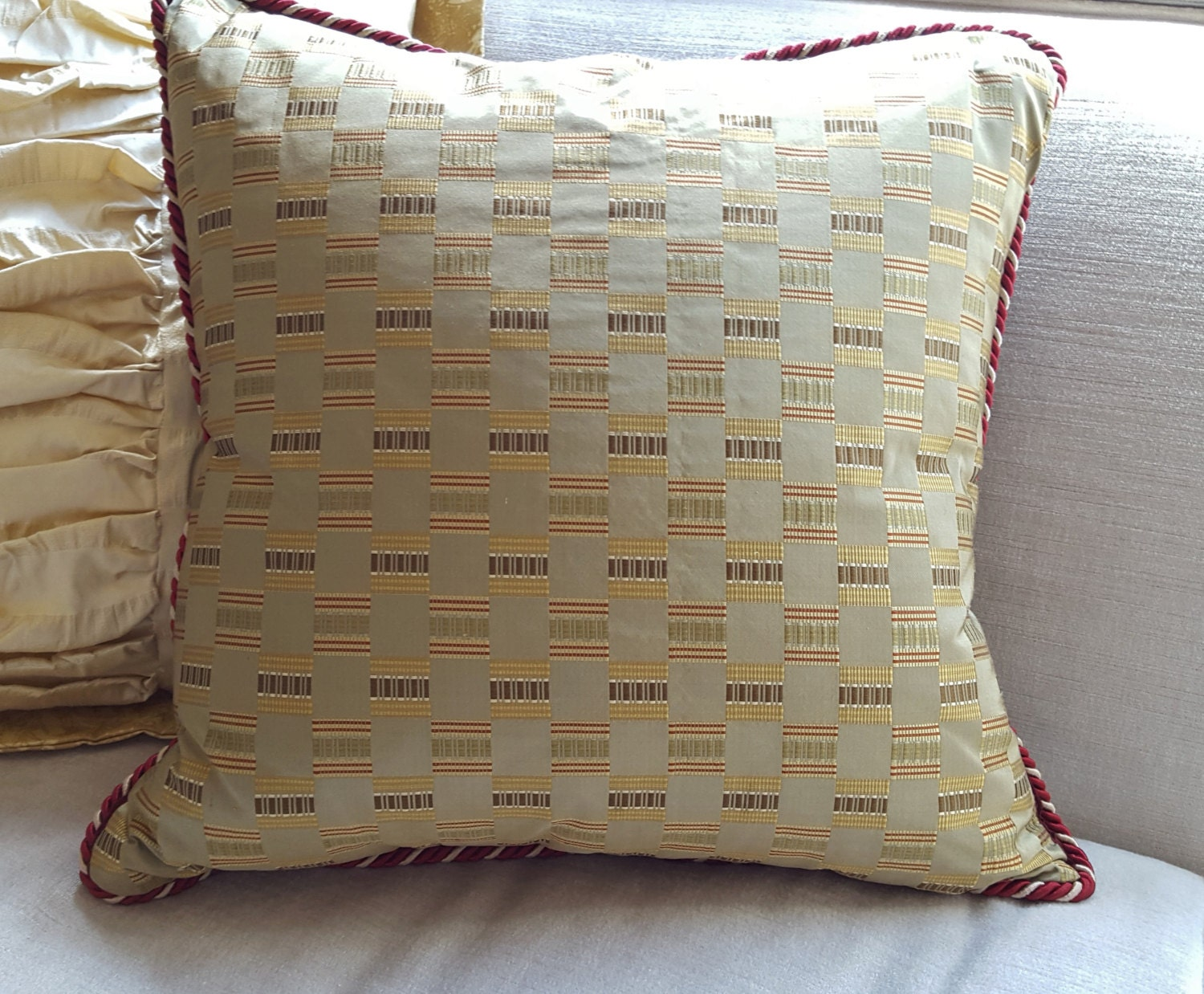 Decorative Olive Green Silk Pillow
