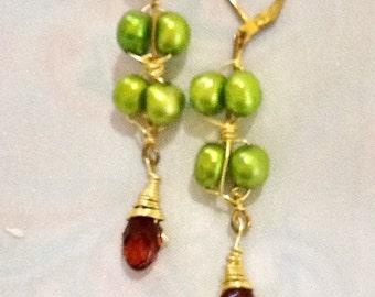 SALE -- BOHEMIAN BRIDE - Bohemian style pearl and crystal earrings-freshwater pearls