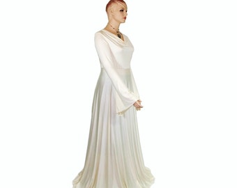 Semi Formal Romantic Maxi Dress -Casual Wedding, Maternity Photos -Cowl Neck/Bell Sleeve -Dramatic Sweeping Length - XS,S,M,L,2X,3X,4X,5X,6X