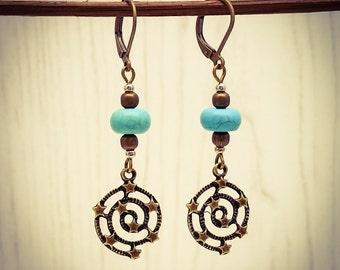 Turquoise Long Bronze Stargazer Gemstone French Hook Earrings [E84]