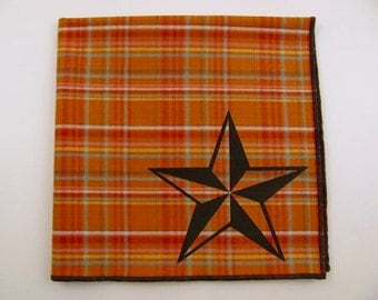 SALE - NAUTICAL STAR shown on super soft discontinued rusty orange plaid cotton Hanky- last one