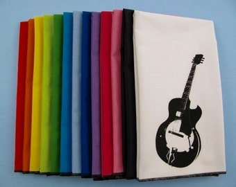NAPKINS - super soft eco friendly reusable napkins - you choose how many - with GUITAR print on any of my thirteen colors