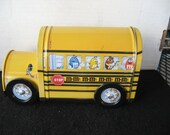 Collectible Yellow M&M's School Bus Tin with turning wheels