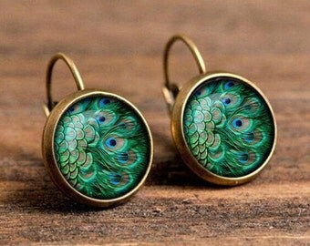 1 pair of 16mm Handmade Peacock Feather Glass Cabochon French Earwire Earrings