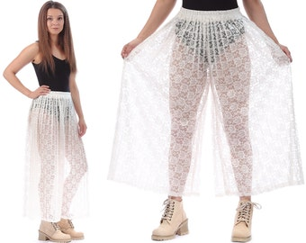 LACE PANTS 70s Sheer Palazzo Bell Bottom Pants Pleated High Waisted Cream White Wide Leg Cut Out 1970s Boho Vintage Bohemian Trousers Medium