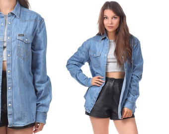 BOYFRIEND Denim Shirt 80s Blue WRANGLER Jean Retro Western Light Sun Wash PEARL Button Up Long Vintage Oversized Cowboy High Quality Medium