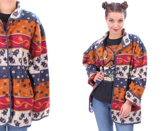 AZTEC Blanket Coat . 90s Vintage Fleece Acrylic Ethnic Jacket Wool Native American Pastel Tones Red Cream White Blue Outerwear . XXL