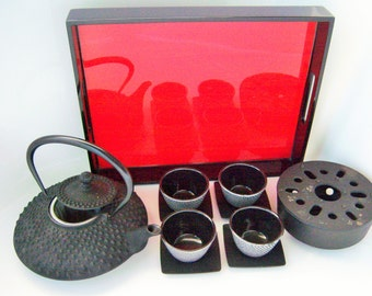 Full Cast Iron Japanese Tea Set Serves 4 Tetsubin Warmer Brazier Red Lacquer Tray Cups Saucers Asian Teapot