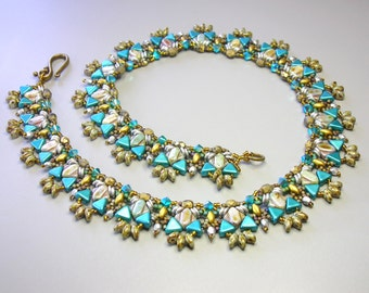Tutorial - Canyon's River Necklace - Silky, Kheops, Swarovski bicones and O beads beading tutorial