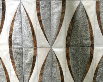 Beccar White Gray Tan Cowhide Patchwork Rug
