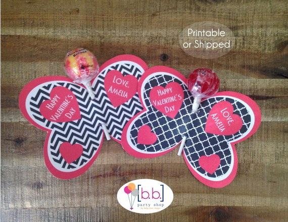 Butterfly Lollipop Personalized Valentine's Day Cards (Black & Red)- Printable or Shipped