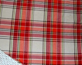 Vintage, Oval Table Cloth, Stripped Table Cloth, Linens, Red, Orange Green Stripe, Table Linens, Farm house Rustic