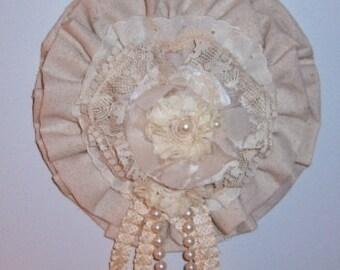 Wall Decor, Handmade Fabric Flower, Large Fabic Flower, Rustic, Farmhouse, Shabby Chic, Dropcloth, Dimensional Flower