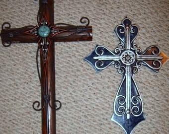 SALE,Cross, Two Rustic Crosses, Wood and Metal Crosses, Ornate Cross,Distressed , Painted Cross, Layered Cross