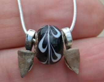 Fossil Barracuda Teeth Pendant & Necklace Prehistoric Jewelry BT7