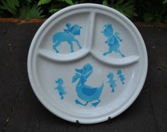 Vintage Toddlers Dish - Baby Dish - Jackson China - Nursery Rhymes Dish - Childs Blue White Plate - Ducks Lambs Pigs Dish - Divided Plate-