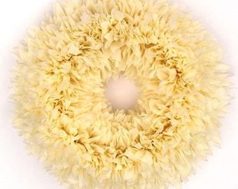 Buttercream Wreath - Ivory Wreath - Wedding Wreath - Indoor Outdoor Wreath - Off White Wreath - Door Wreath - Outdoor Wreath - Bridal Wreath