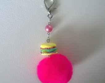 Kawaii Yellow Psychedelic Hamburger Cheeseburger Polymer Clay with Pink Pom Pom Dinner Food Charm Keychain Gift Minature Ooak Fast Food