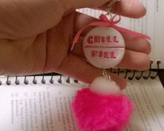 Chill Pill Pom Pom Keychain Charm Polymer Clay Psychology Medication Gag Gift Ooak Mental Health