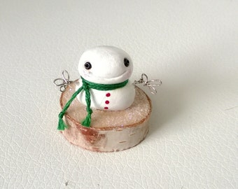 Clay Snowman Polymer Clay Doll Gift Figure Figurine Decoration Ooak Holiday Christmas Snow Man Cute