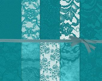 Digital Scrapbook Paper, Lace Digital Paper, Turquoise Digital Paper, Turquoise Lace Digital Paper, Lace Planner Stickers, #14124