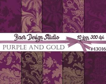 Plum and Gold Digital Paper, Purple Digital Paper, Purple and Gold Digital Paper, Digital Scrapbook Paper, Planner Sticker Paper, #43016