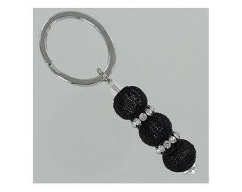 BEADED KEYRING with Black Mesh and Rhinestone Beads