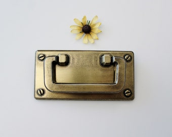 Vintage Brass Drawer Cabinet Pull with Backplate - Brass Hardware Restoration Piece