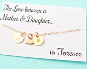 Mother daughter necklace, Christmas gift for mom, daughter necklace, 14k GOLD FILL heart charm necklace personalized initials custom jewelry