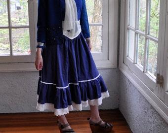 Vintage Prairie Style Midi Skirt/Vintage 1970s/Navy Blue With White Ruffles/Size Small