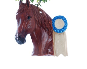 Personalized Christmas Ornament Sorrel Horse with Blue Ribbon - personalized free with your name and or year - handmade in the USA  (h30)