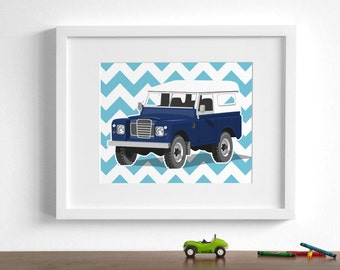 boys nursery wall art land rover jeep - pick your colors - childrens art prints - classic vintage truck nursery art for boys