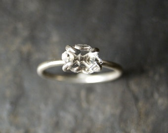 Herkimer Diamond Solitaire Ring in Polished Sterling Silver