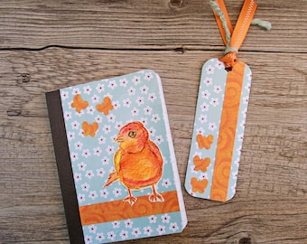 Watercolor Bird Mini Journal with Matching Bookmark, Pocket Notebook, Altered Composition Book, Blue and Orange, Bird and Butterflies
