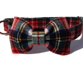 Christmas Wool  Tartan Plaid Dog Bow Tie and Collar Set with Metal Buckle