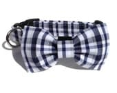 Dog Bow Tie and Collar Set in Indigo Seersucker Plaid  for Small to Large Dogs