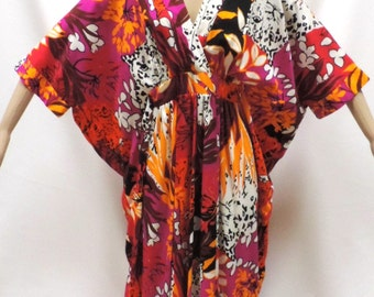 Hawaiian Dress Size M L XL Alice of California Kimono Bright Animal Floral Print Maxi Lounge Frock Vintage