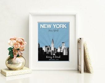 New York City Wedding Gift - Personalized - Anniversary - Custom Date - Location City and State Modern Art Print - 8x10