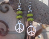 Peace Sign Charms and Chartreuse Beaded Earrings